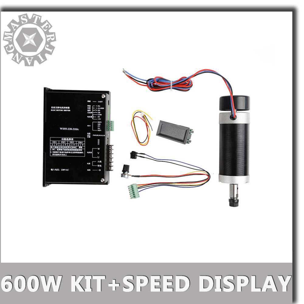 NEW DC 600W 0 6KW ER11 55MM Brushless CNC Spindle Motor 220VAC WS55 220 310A Stepper