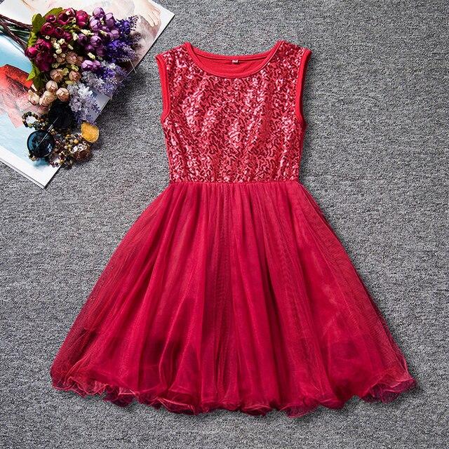 13b87e6dbb0 Été filles vêtements robe de bal rouge robe à paillettes pour les filles 2-6