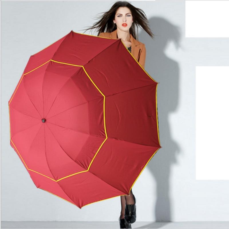 Image 2 - 130cm Big Top Quality Umbrella Men Rain Woman Windproof Large Paraguas Male Women Sun 3 Floding Big Umbrella Outdoor Parapluie-in Umbrellas from Home & Garden
