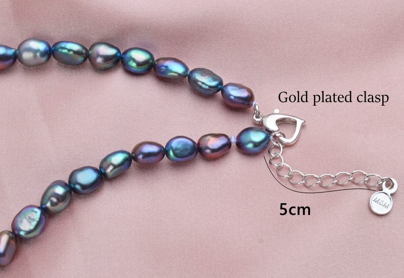 HTB16gDbaELrK1Rjy0Fjq6zYXFXau ASHIQI Black Natural Freshwater Baroque Pearl choker Necklace for Women 925 Sterling Silver Jewelry Fashion Necklaces 2019