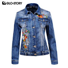 GLO-STORY  Women's Floral Embroidered Slim Fit Denim Jacket Women 2018 Spring Casual Jeans Jackets Coat WFY-5859