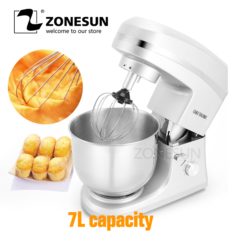 все цены на ZONESUN 1000W 220V Professional Commercial Electric Flour Egg Blender 7L Milk-shake Beater Kitchen Stand Mixer Dough Mixer