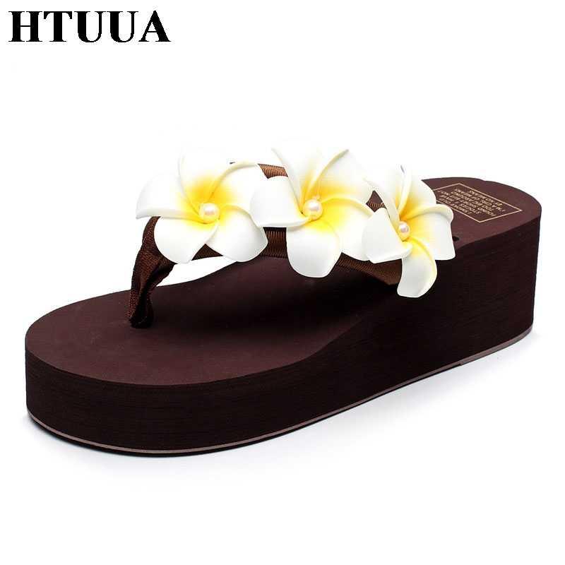 HTUUA 2018 แฟชั่นไข่มุกดอกไม้รองเท้าแตะผู้หญิงฤดูร้อน Boho Beach Flip Flops รองเท้าผู้หญิงสูง Wedges สไลด์รองเท้าแตะ SX945