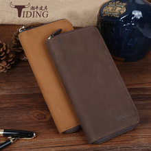 Tiding Brand Luxury Genuine Cow Leather Retro Men Long Wallet Clutch Bag Vintage Cowhide Leather Purse Card Holder Coin Pouch