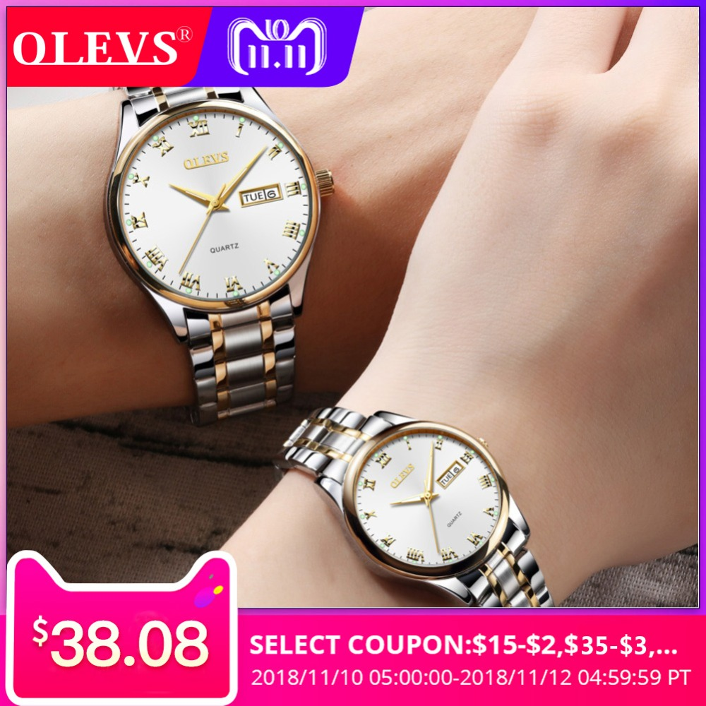 OLEVS couple watches for lovers stainless steel Mens Women's watches top brand luxury waterproof watch relogio masculino clock inflatable water park slide water slide slide with pool amusement park game water slide