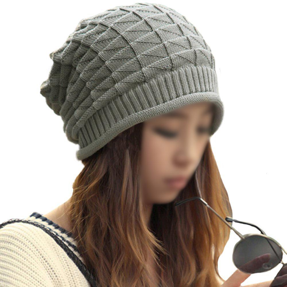 5x Unisex Winter Plicate Baggy Beanie Knit Crochet Ski Hat Cap - Gray купить