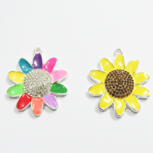 Newest!!   40MM  10pcs/lot Sunflower Enamel & Rhinestone Pendants
