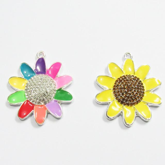 Newest!!   40MM  10pcs/lot Sunflower Enamel & Rhinestone Pendants