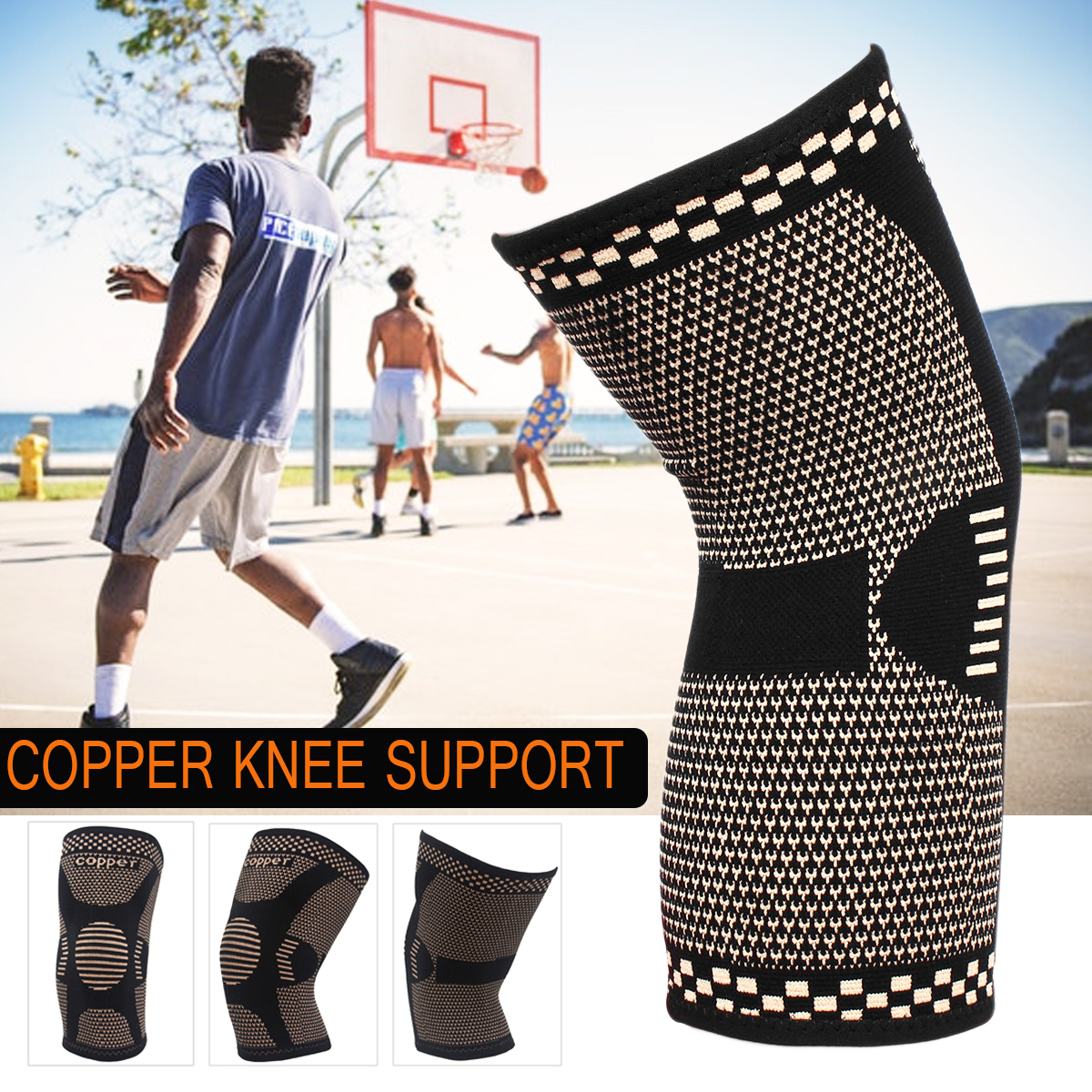 Copper Infused Knee Pads Compression Keep Warm Patella Protector Support Elastic Bandage Knee Brace Support Sport Pad Volleyball