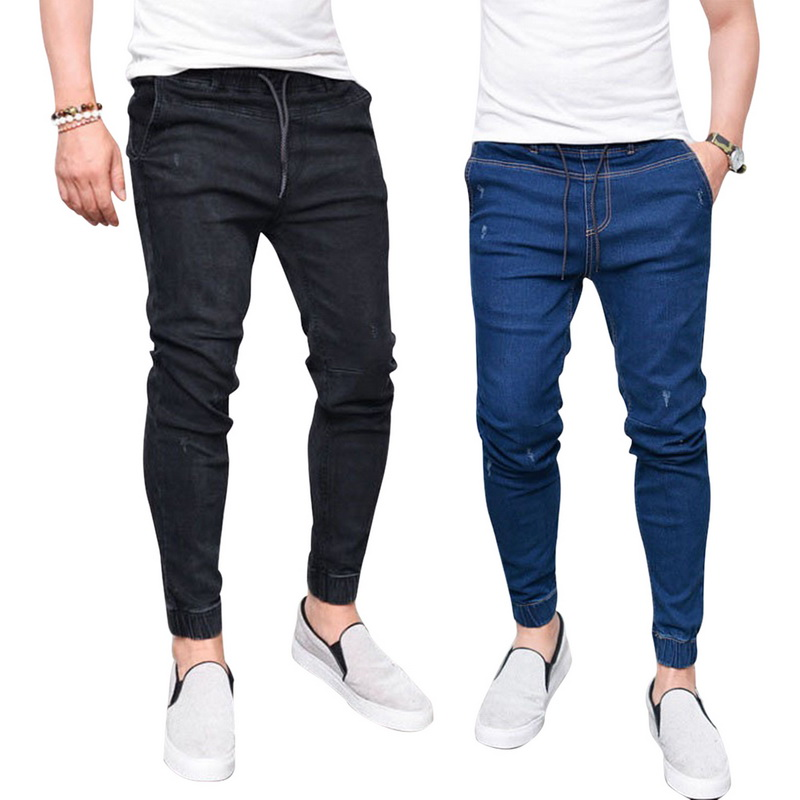 SHUJIN Pant Jeans Joggers Washed-Feet Harem Elastic-Waist Shinny Hip-Hop Black Men's