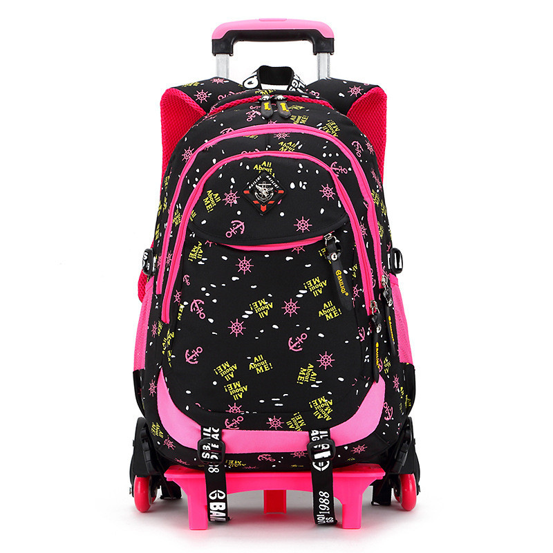 Children School Bags Triple Wheels Trolley Backpack Wheeled school bag For Grils Kids tr ...
