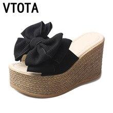 VTOTA pantoufles à bouts pipi pour femmes, chaussures dété à talons hauts, nœud papillon, glissière, plateforme, chaussures dété pour femmes, F66