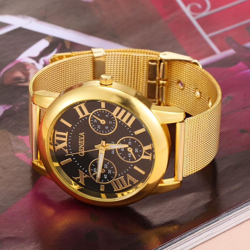 Fashion Men /women Watches Luxury Brand Gold Stainless Steel Strap Couple Quartz Wrist Watch Casual Men Roman Clock Dial
