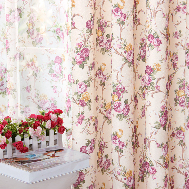 Cretonne Recommended Purple Flower Curtains For Living Bedroom Korean Garden Pastoral Marriage Room In Small Girl