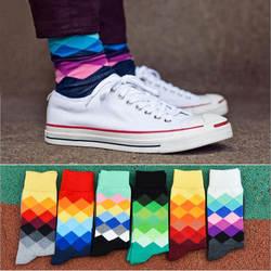 5 пар Горячее предложение 2017 Happy Носки Стиль 3D Красочные площади коттоновые носки для мужчин и женщин джентльмен Мужская Носок Большие