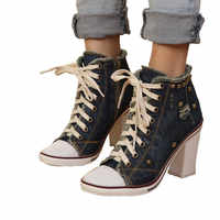 Vintage Dark Blue Women Denim Pumps Round Toe Square High Heels Lace Up Platform Ladies Espadrilles Fashion Studded Valentines