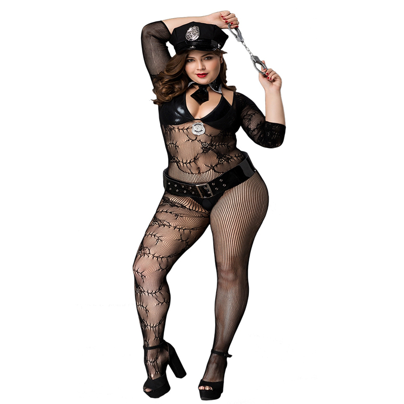 Plus Size Porn Women Sexy Police Costume Black Polyester Leather Military Uniform Hot Erotic Clubwear Costumes For Ladies