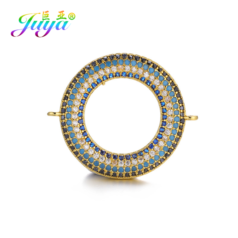 Juya DIY Bracelets Necklace Earrings Making Fittings 2 Loops Circle Charms Connector Accessories For Fashion Jewelry Making