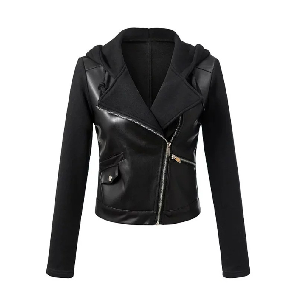 2019 Autumn Women Jacket PU Faux   Leather   New Zipper Jacket Motorcycle Hooded Short Female Gothic Black Tops Cool Ladies Jackets