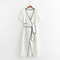2019 Women Spring Summer White Cotton Za Long Dress Female Adjustable High Waist Whit Belt Short Sleeve Beach Dresses vestidos