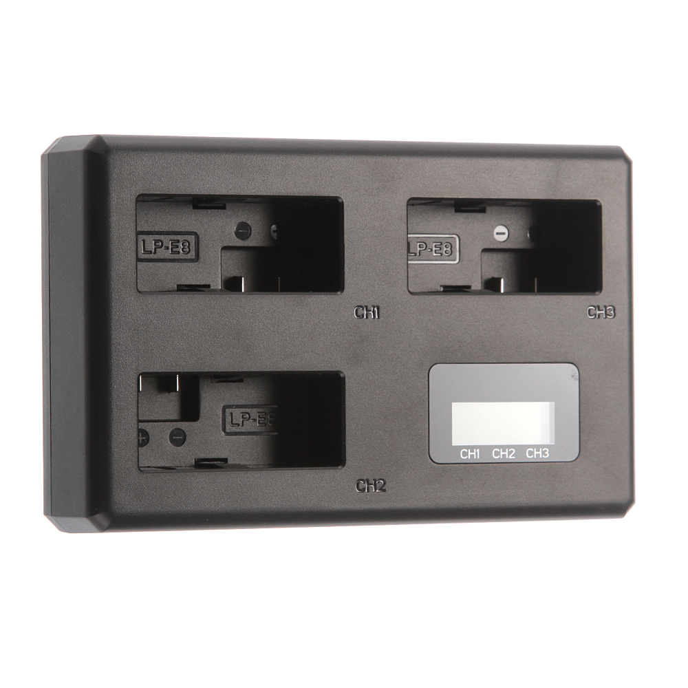 Triple LP-E8 LCD 3 USB Battery Charger for Canon EOS 600D 650D <font><b>700D</b></font> Rebel T4i T5i image