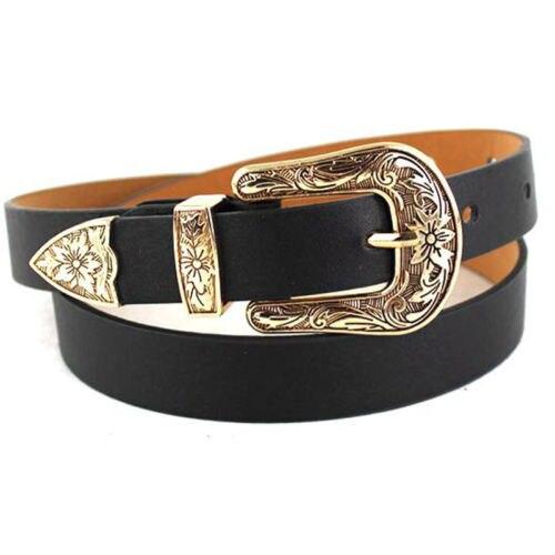 Gold Black Metal Buckle Belt Women Western Cowgirl Waist Belt Waistband PU Leather Waist Belts For Women Jeans Pants