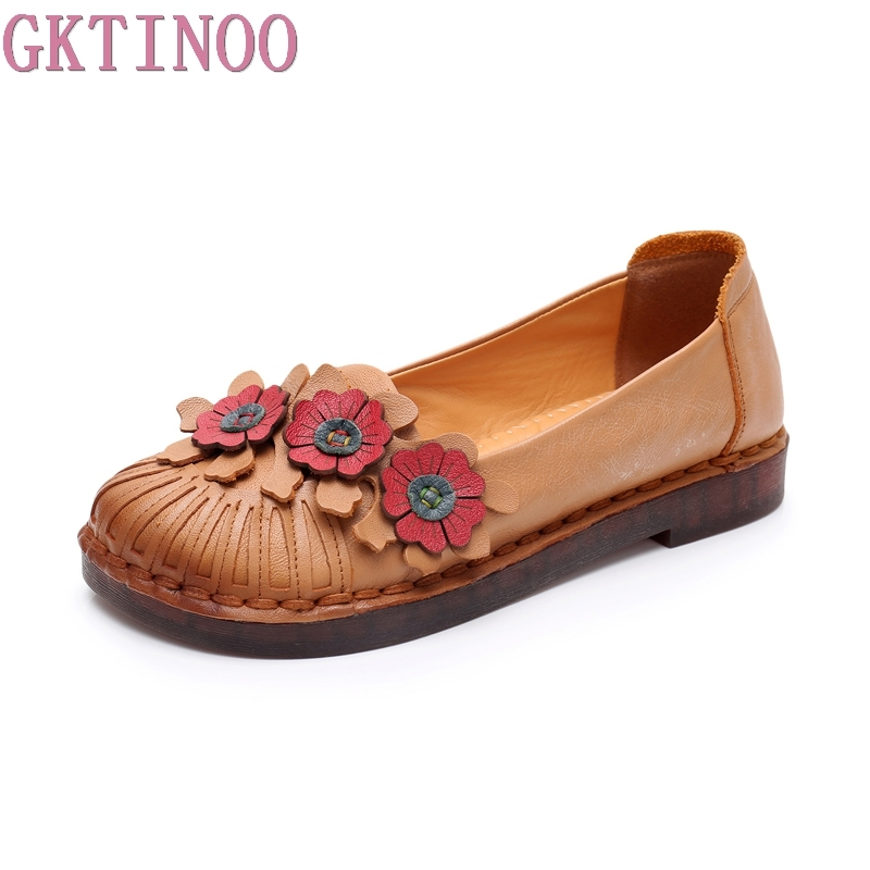 GKTINOO 2019 New Handmade Shoes Soft Outsole Genuine Leather Women Shoes Flowers Flats Comfortable Round Toe