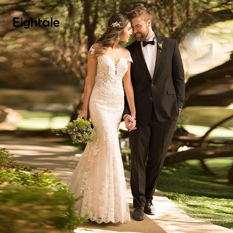 Eightal Mermaid Wedding Dress Boho V Neck Princess Wedding Gowns Cap Sleeve Appliques Lace Tulle Romatic Backless Bridal Dress