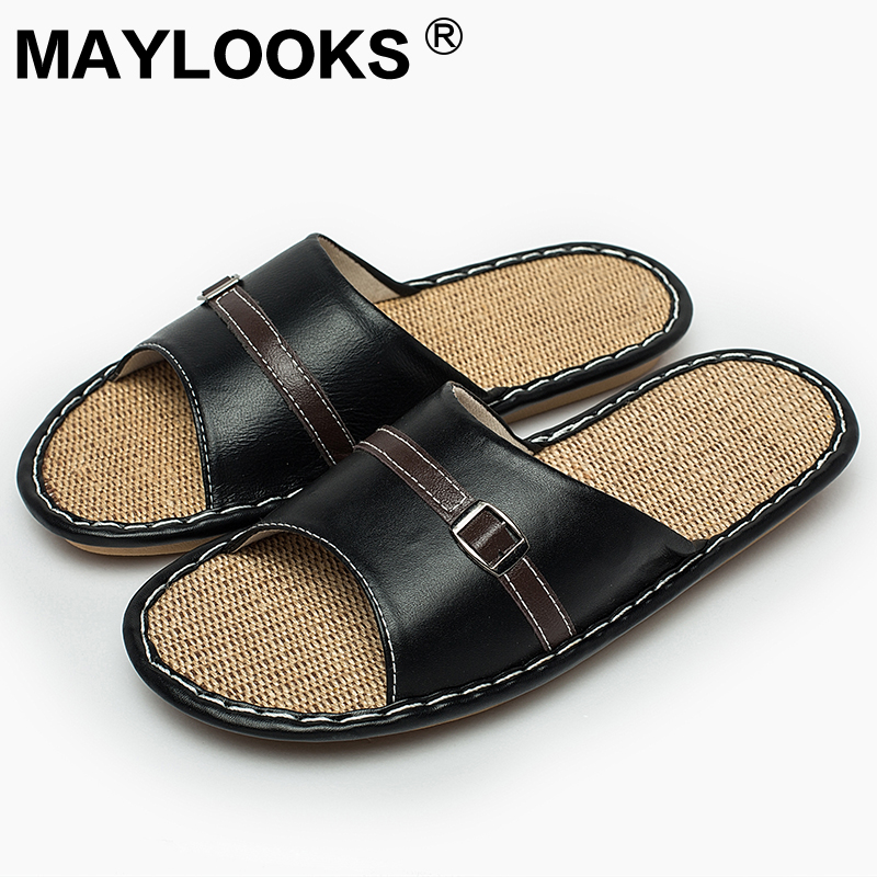 Men's Slippers Summer genuine Leather Linen Woven Breathable Home Indoor Non-slip Slippers 2018 New Hot Tb010