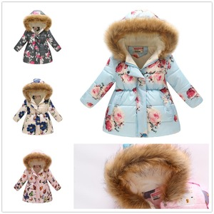 Image 2 - אופנה בנות למטה מעיל צמר חורף ילדי בגדי סלעית מעיל פרחוני תינוקת מעיל להאריך ימים יותר ילדי תלבושות חולצות מגשרים