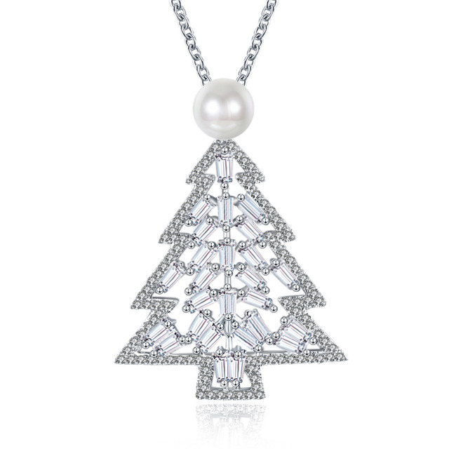 2017 new women full stone zircon christmas tree with ball pendant necklace female rose gold christmas