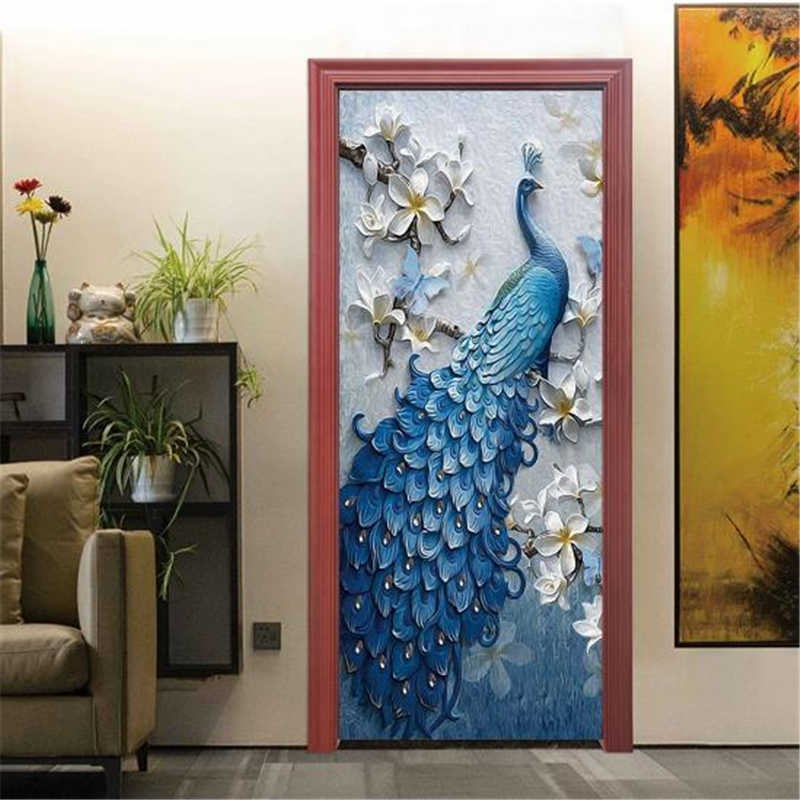 48a071d693 ... DIY 3D Door Stickers Animals PVC Self-Adhesive Home Decoration 3D Wall  Sticker for Doors ...