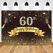 Neoback Happy 60th Birthday Photo Backdrop Gold Glitter Bokeh Shiny Photography Background Diamond Beer Celebrate Backdrops