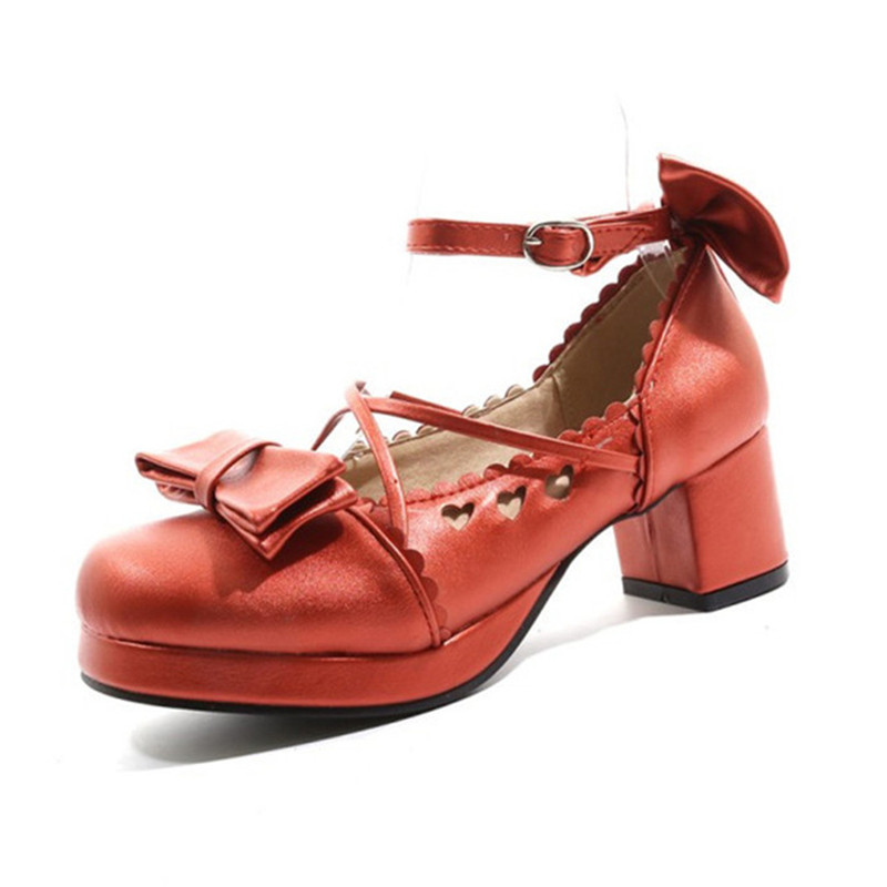 Big Size 30-48 Women Pumps Japanese Princess Lolita Shoes Sweet Bow Cross Straps High Heels Mary Janes COSPLAY Female Shoes Gold (30)