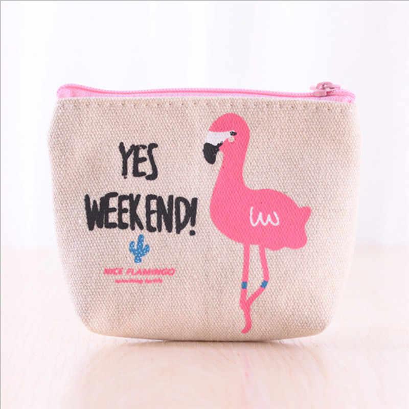 Kualitas Tinggi Kanvas Cute Flamingo Koin Dompet Portable Mini Dompet Kantong Ritsleting Tas Gratis Pengiriman