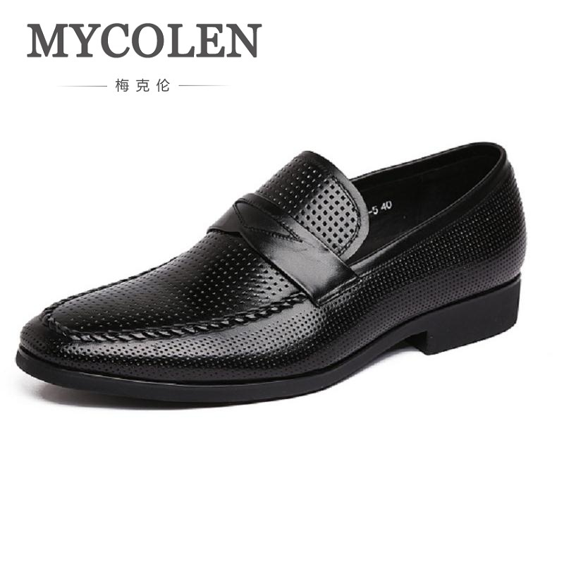 MYCOLEN New Business Casual Slip-On Men Shoes Genuine Leather Comfortable Hollow British Pedal Loafer Breathable Shoes ходунки сима ленд коровка 1917404