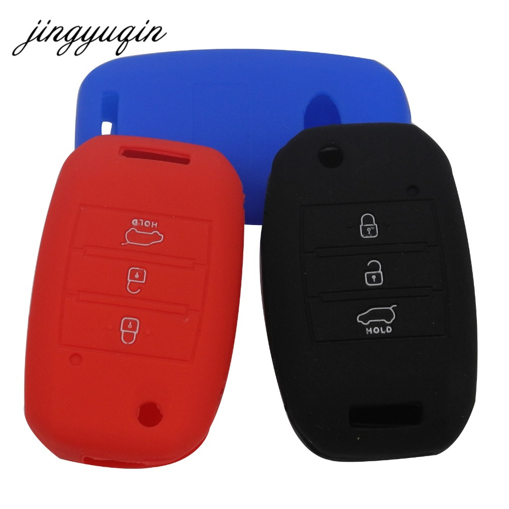 jingyuqin Silicone Flip Folding Key Case For KIA Sid Rio Soul Sportage Ceed Sorento Cerato K2 K3 K4 K5 key Set Remote Cover chicd hot sale skinny jeans woman autumn new pencil jeans women fashion slim blue jeans mid waist denim pants plus size xp135