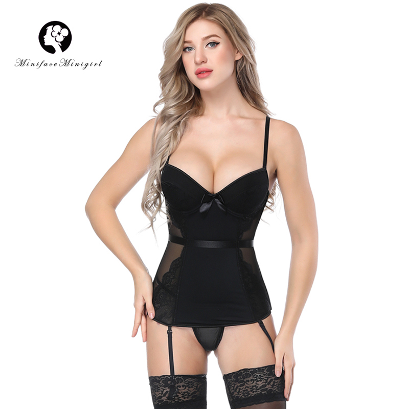 Minifaceminigirl Black Sexy   Bustier     Corset   Sex Femme Overbust Lace Up Lingerie Appliques Women Push Up   Bustier     Corset