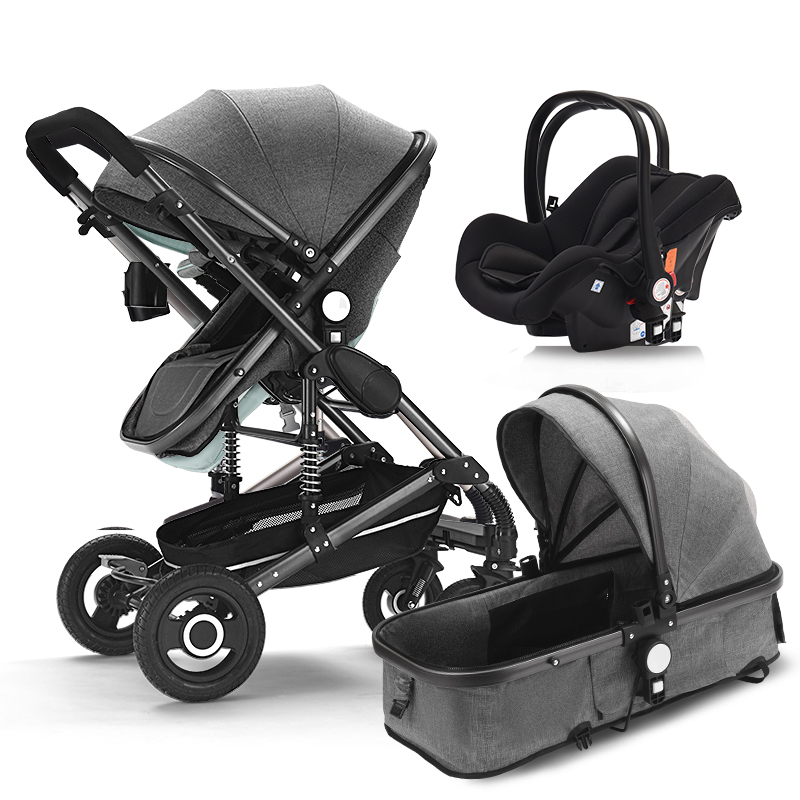 Baby stroller 3 in 1 neonatal baby carriage high landscape pram four seasons baby stroller shock absorption baby cart baby carriage