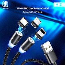 Magnetic Kabel Usb Cepat Pengisian USB Tipe C Kabel Magnet Charger LED Charge 1M 2M Kabel Micro USB ponsel Kabel USB(China)