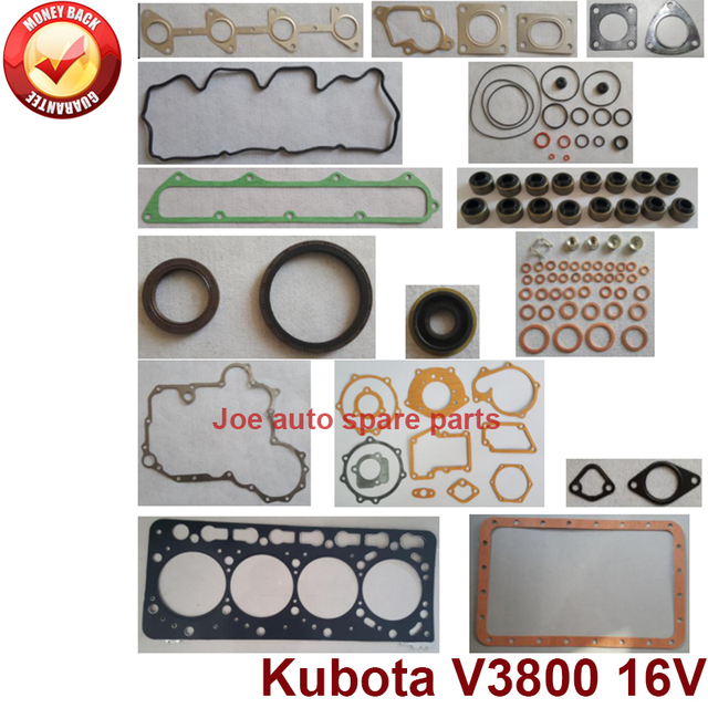 US $93 22 21% OFF|complete repair Overhaul engine full gasket set kit for  Kubota engine: V3800 16V-in Full Set Gaskets from Automobiles & Motorcycles
