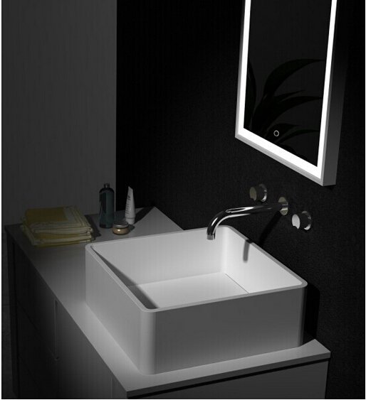 Square Corian Solid Surface Stone Counter Top Vessel Sink