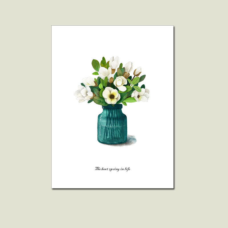 Green And Pink Flower Painting Posters And Prints Vase Flowers Wall Art Canvas Painting Wall Pictures Canvas Prints Unframed