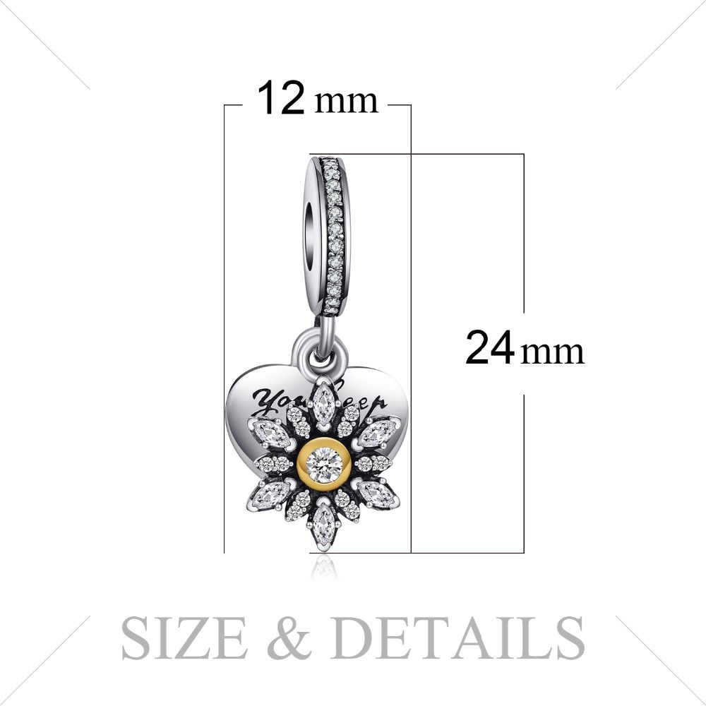 Jewelrypalace 925 Sterling Silver Glitter Kepingan Salju Hati Pesona Gelang Hadiah untuk Wanita Fashion Perhiasan Hadir Pesona Logam
