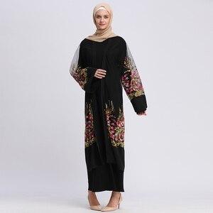 Open Abaya Dubai Kaftan Floral Embroidery Mesh Cardigan Muslim Hijab Dress Oman Turkish Caftan Abayas For Women Islamic Clothing