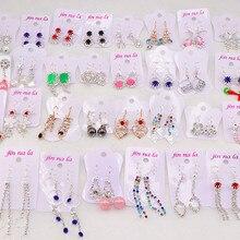 אופנה 30 זוגות\חבילה חמוד קריסטל מעורב להתנדנד Drop עגילים לנשים מתנה הטובה ביותר מפלגה תכשיטי עגילים