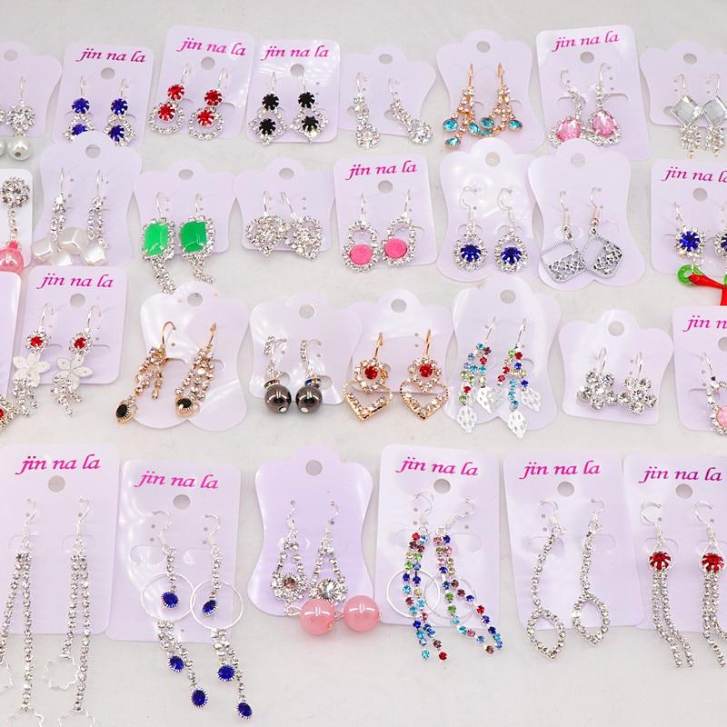 Модные 30 парт/лот милые смешанные висячие серьги с кристаллами для женщин лучший подарок