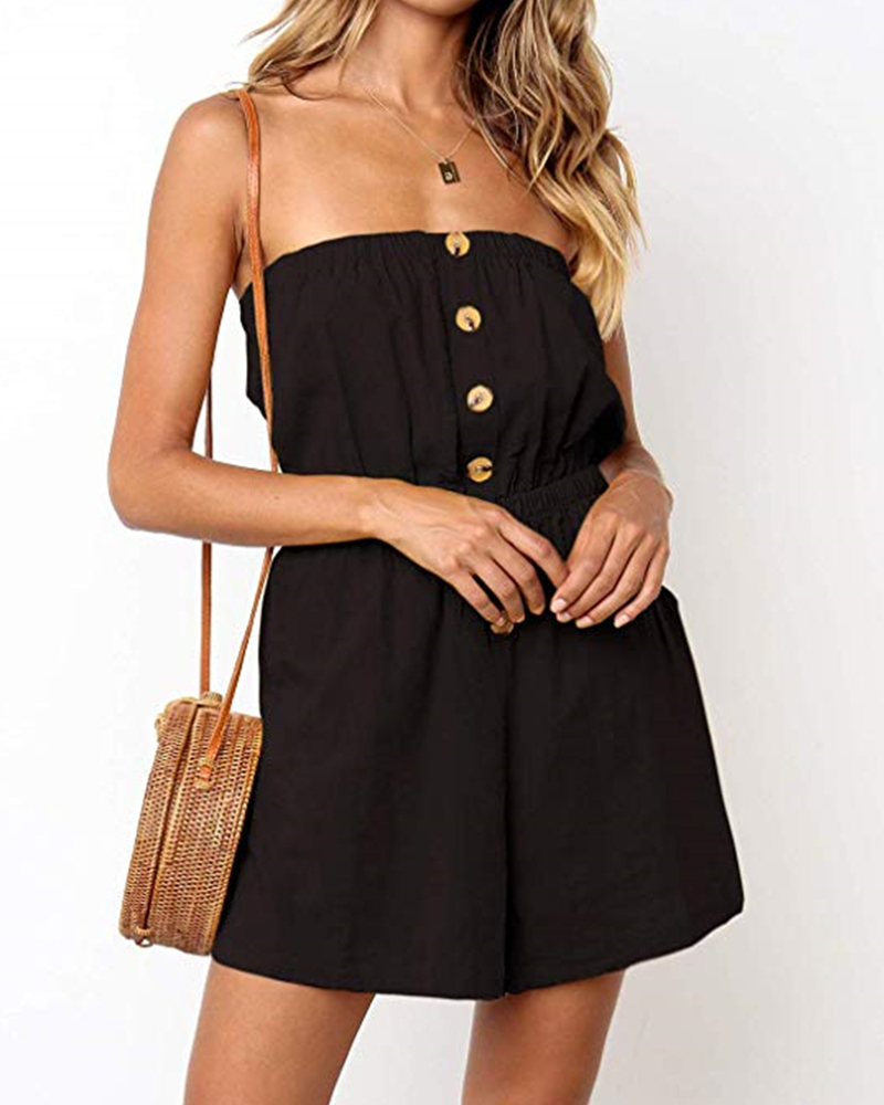 Off shoulder button down black   jumpsuits   strapless mini short romper playsuit backless summer holiday wear