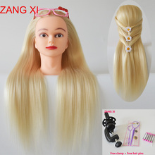 100% High Temperature Fiber Long Blonde Hair Mannequin Head For Hairdressing Training Heads Manikin for Sale Maniquin