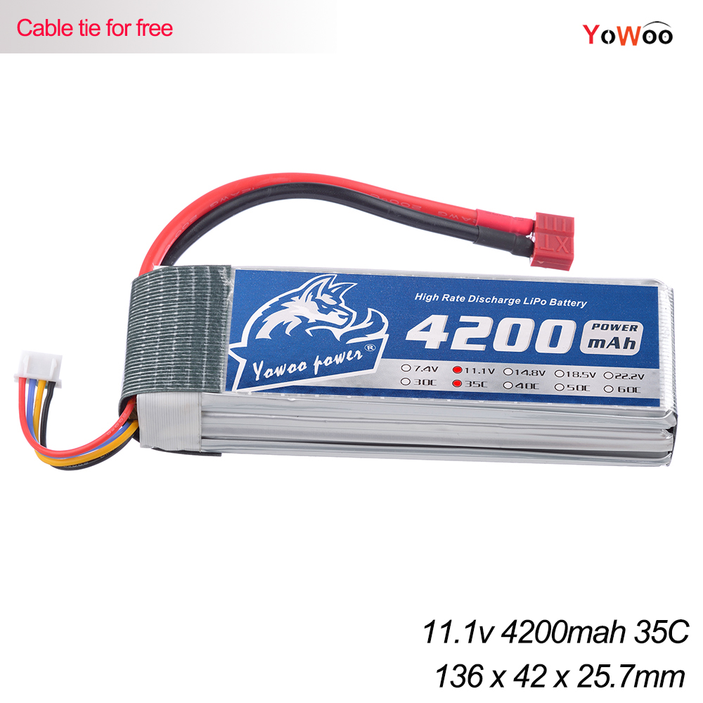 YOWOO 11.1v 4200mah 35C Max 70C RC Lipo 3S Battery For Four Axis Drone Helicopter Airplane Car Boat Quadcopter UAV FPV T XT60 2pcs hrb rc lipo 3s battery 11 1v 3000mah 35c max 70c drone akku for rc bateria helicopter airplane car boat quadcopter uav fpv